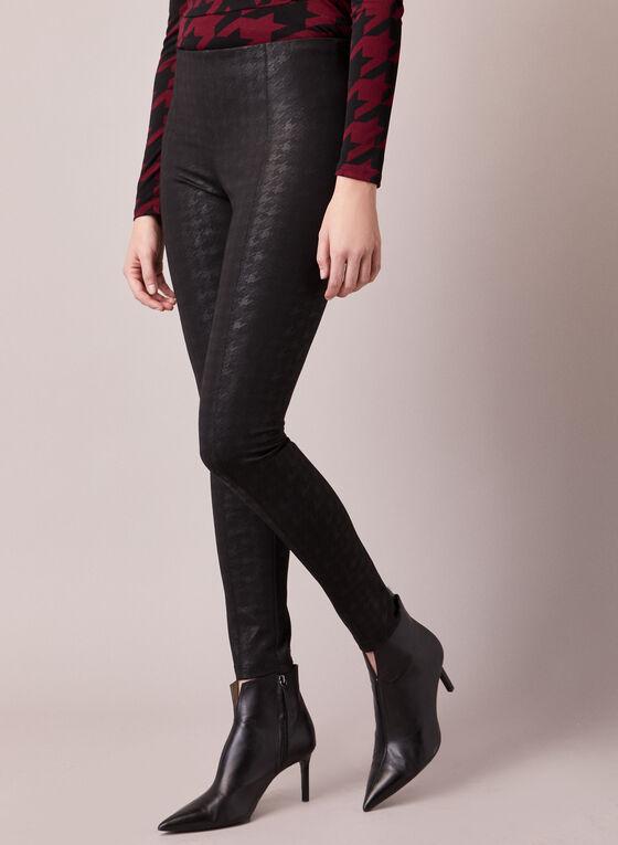 Houndstooth Motif Kayla Leggings, Black