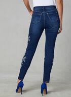 Floral Embroidered Slim Leg Jeans, Blue, hi-res