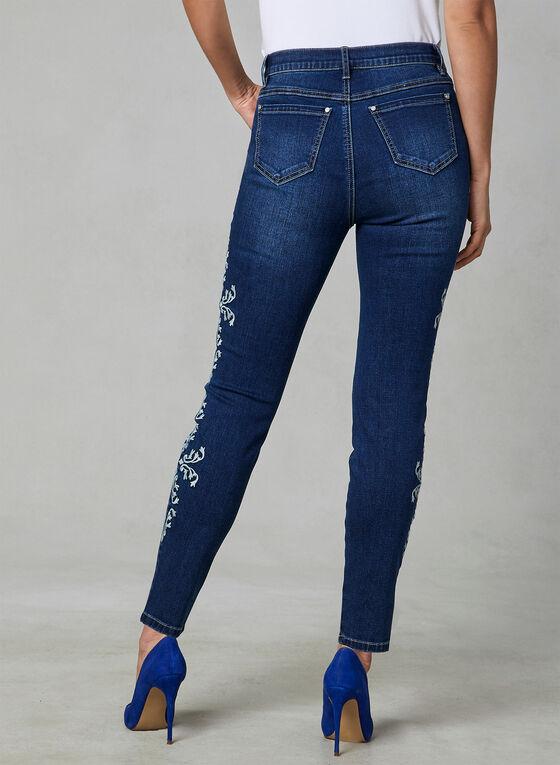 Floral Embroidered Slim Leg Jeans, Blue