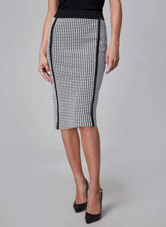 Houndstooth Print Pencil Skirt, Black