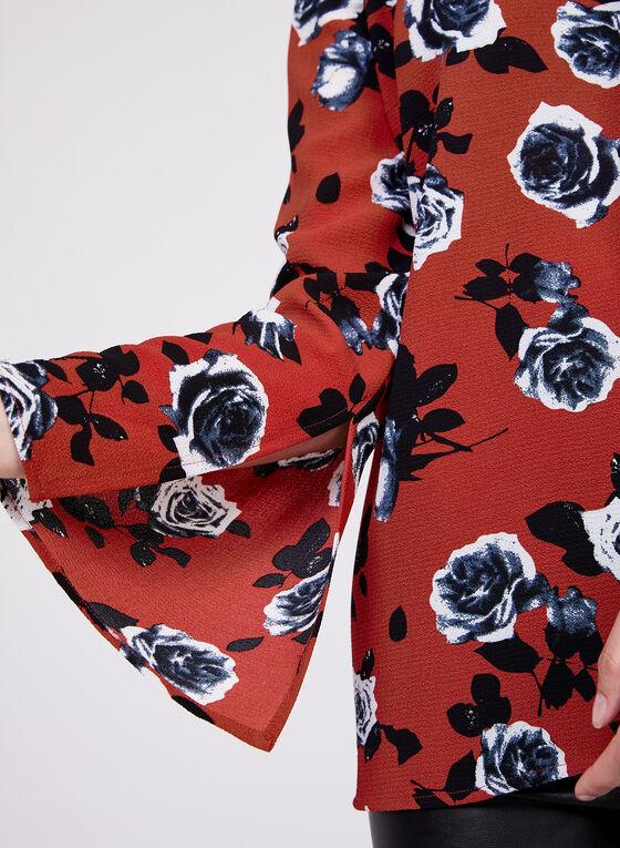 Floral Print Bubble Crepe Blouse, Red
