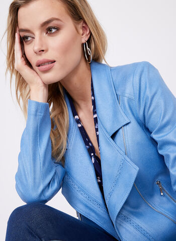Vex - Faux Leather Zipper Trim Jacket, Blue, hi-res