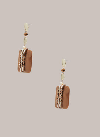 Lucite Square Dangle Earrings, Brown,  earrings, dangle, square, lucite, beads, metallic, spring summer 2020