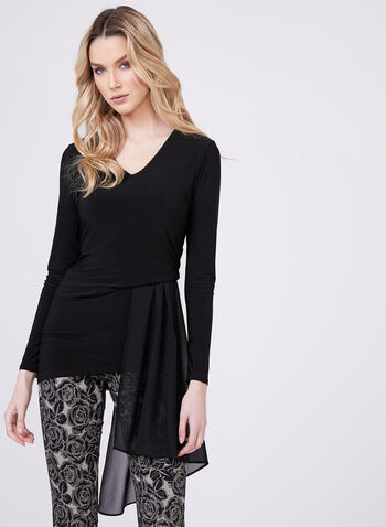 Chiffon Drape Detail Top, Black, hi-res