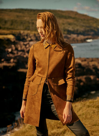 Faux Suede Redingote, Beige,  jacket, redingote, faux suede, long sleeves, fall winter 2020