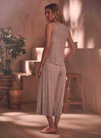 Tank & Capris Pyjama Set, Grey,  spring summer 2021, pj, pyjama, sleepwear, set, tank, capris, solid, pull-on, elastic waist, comfort, soft
