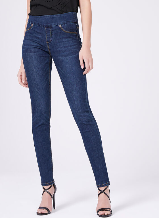 Carelli Jeans – High Rise Pull-On Jeans, Blue, hi-res