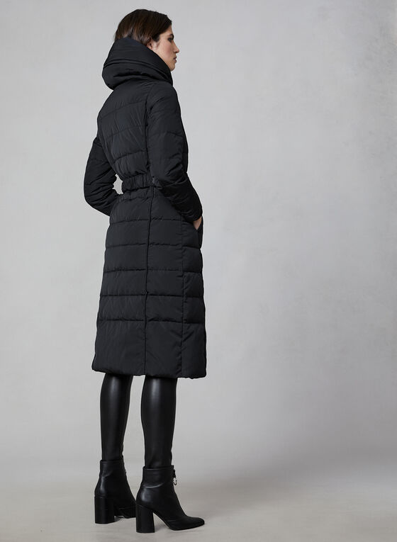 Novelti - Long Belted Down Coat, Black
