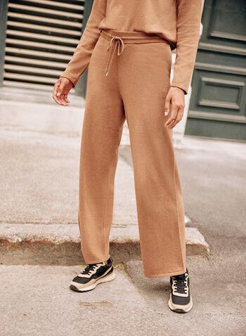 Knit Jogger Pants, Beige,  fall winter 2021, bottoms, pants, knit pants, jogger pants, sweatpants, wide leg, sweater pants, pull on, elastic waist, drawstring, jersey