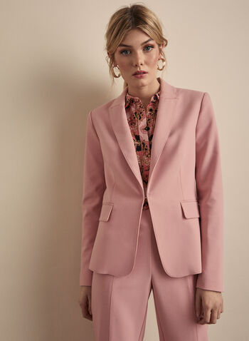 Notched Collar Blazer , Pink,  blazer, notched collar, long sleeves, lined, pantsuit, fall winter 2019