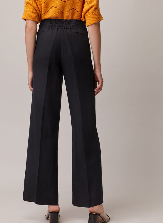 Linen Wide Leg Pants, Black