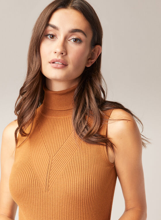 Sleeveless Turtleneck Sweater, Brown