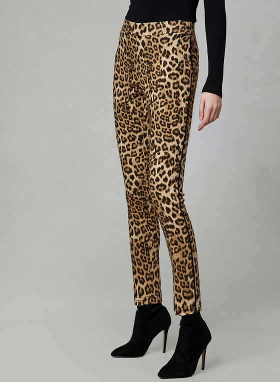 Leopard Print Slim Leg Pants, Brown, hi-res