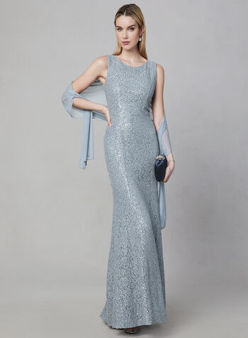 Alex Evenings - Sequin Lace Dress & Scarf Set, Silver, hi-res,  soutache, sleeveless, spring 2019