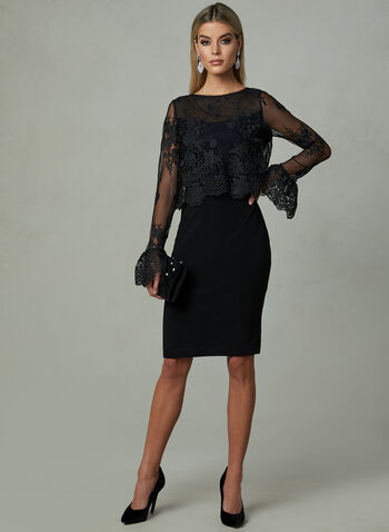 Joseph Ribkoff - Floral Lace Dress, Black, hi-res