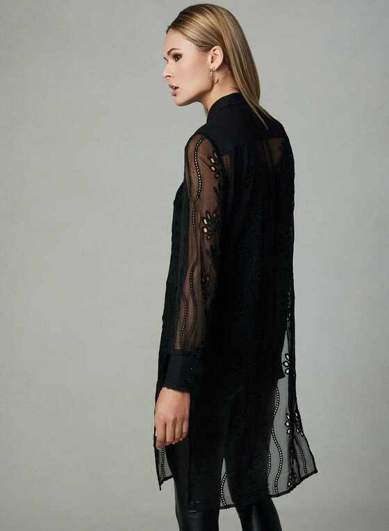 Embroidered Duster Blouse, Black, hi-res