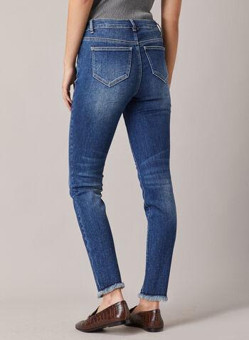 Jeans à jambe étroite à effet usé, Bleu,  jeans, étroit, délavé, effiloché, poches, usé, printemps été 2020