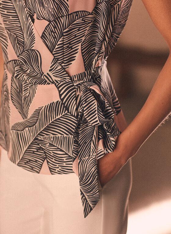 Blouse sans manches à motif feuilles de palmier, Rose