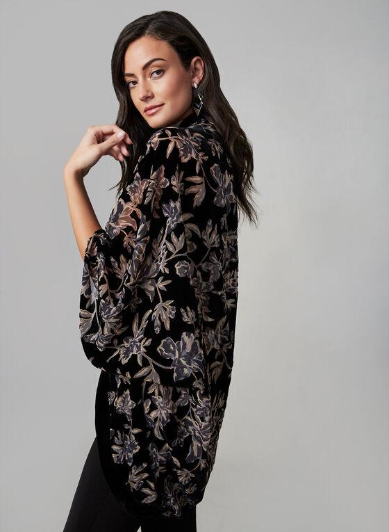 Étole fleurie aspect velours, Noir