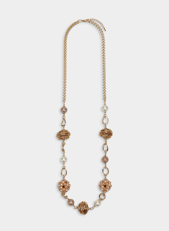 Long Beaded Necklace, Gold, hi-res