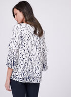 Abstract Ink Blot Print Blouse, White, hi-res
