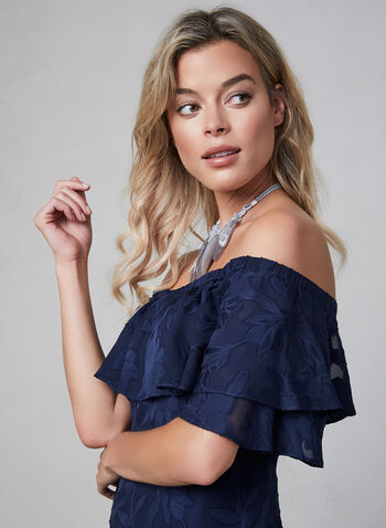 Maggy London - Embroidered Off-the-Shoulder Dress, Blue, hi-res,  day dress, short sleeves, ruffles, fall 2019