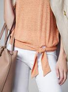 Stripe Print Flutter Sleeve Top, Orange, hi-res