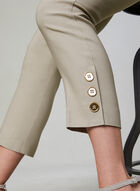 Pull-On Button Detail Capri Pants, Off White, hi-res