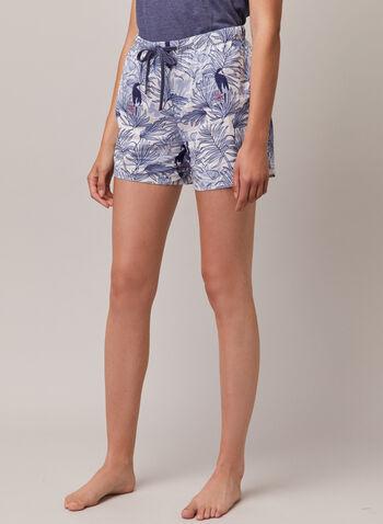 Printed Drawstring Shorts, Blue,  shorts, elastic, drawstring, stripe, tropical, spring summer 2020
