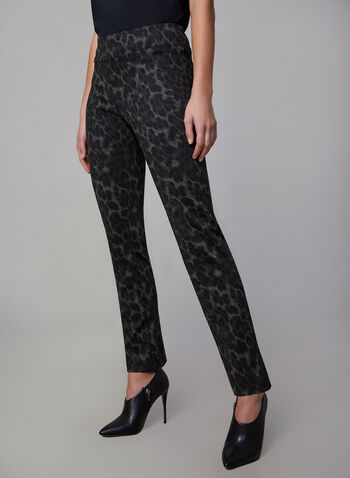 Pantalon coupe Madison à motif animalier, Noir,  pantalon, pull-on, jambe étroite, animalier, seconde peau, point de rome, automne hiver 2019