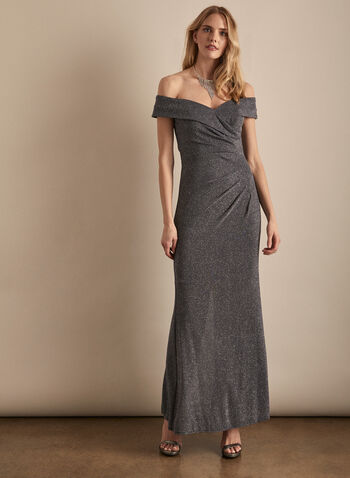 Alex Evenings - Sparkling Off-the-Shoulder Dress, Silver,  dress, evening, occasion, sparkle, crystals, wrap, pleated, fit & flare, off the shoulder, spring summer 2020