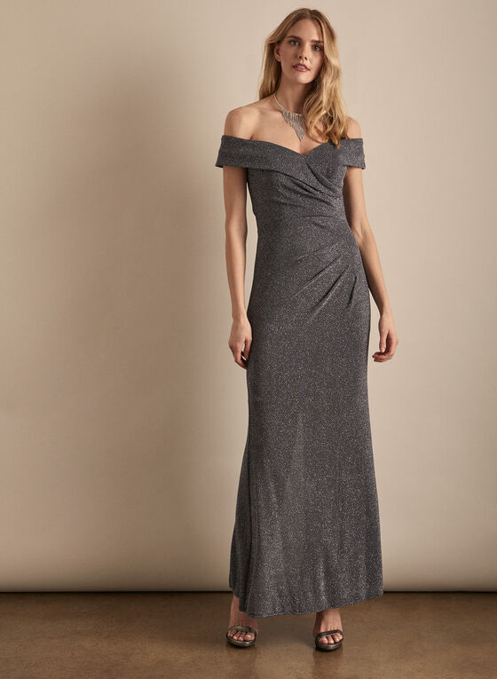 Alex Evenings - Sparkling Off-the-Shoulder Dress, Silver