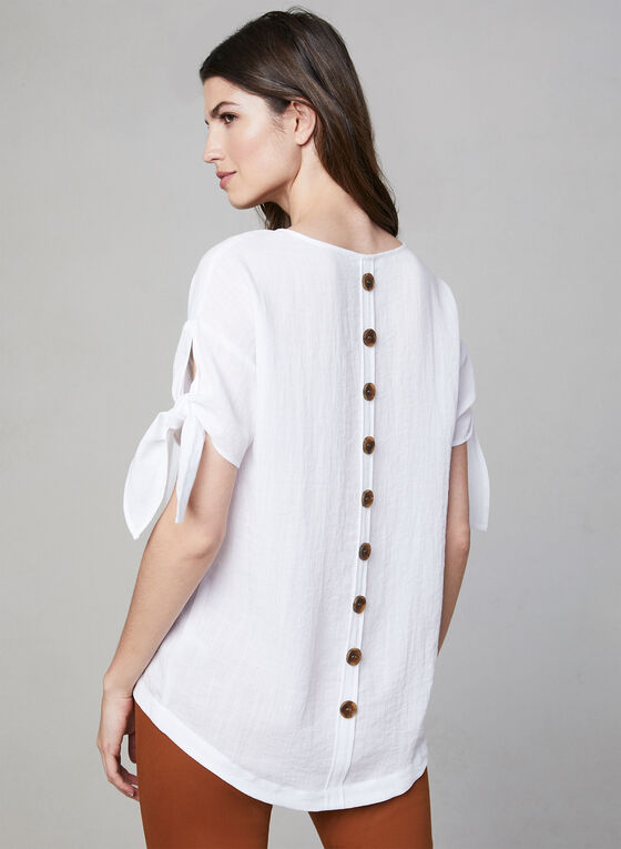 Linen Effect Top, White, hi-res