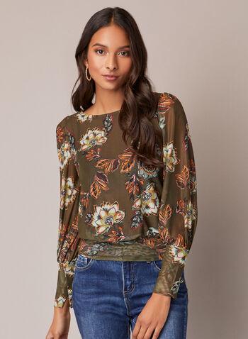 Haut blousant floral en maille filet, Vert,  automne hiver 2020, haut, blouse, manches longues, manches bouffantes, encolure ronde, blousant, maille filet, motif, fleurs, fleuri, floral