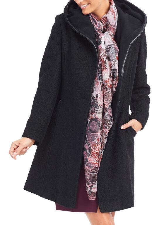 Manteau en laine à garniture en similicuir, Noir, hi-res