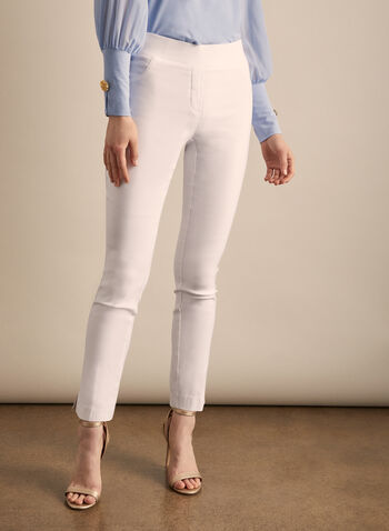 Pull-On Slim Leg Pants, White,  pants, pull-on, stretchy pants, comfortable, spring 2020, summer 2020