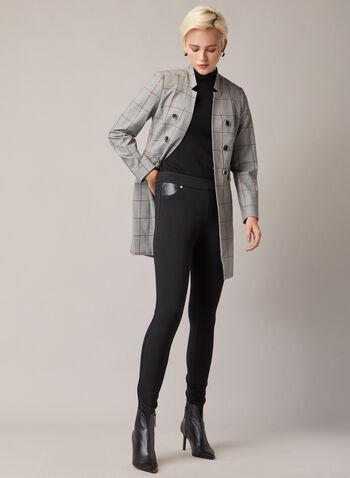 Legging à détails en similicuir, Noir,  legging, similicuir, point de rome, étroit, automne hiver 2020