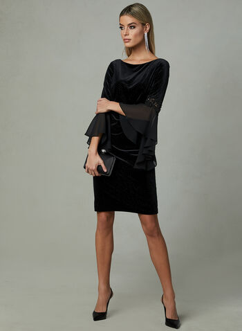 Frank Lyman - Velour Angel Sleeve Dress, Black, hi-res
