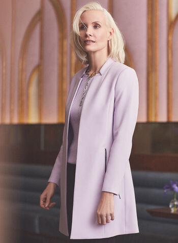 Zipper Detail Redingote, Purple,  jacket, redingote, inverted notch collar, long sleeves, zippers, pockets, shoulder pads, pockets, spring summer 2020