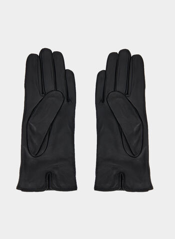 Sheep Leather Gloves, Black,  leather gloves, gloves, sheep leather, sheep leather gloves, bow, metallic, rhinestones, fall 2019, winter 2019