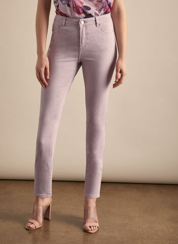 Coloured Slim Leg Jeans, Purple,  jeans, slim leg, pockets, spring 2020