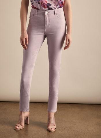Jeans coloré à jambe étroite  , Violet,  jeans,  jambe étroite, coloré, coton, longueur cheville, printemps été 2020