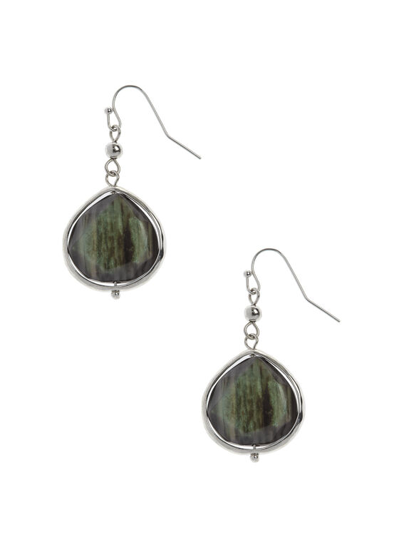 Marbled Stone Drop Earrings, Green, hi-res