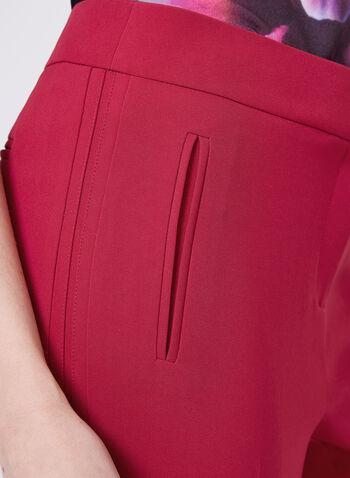 Pantalon jambe étroite à pinces en triacétate, Rouge, hi-res