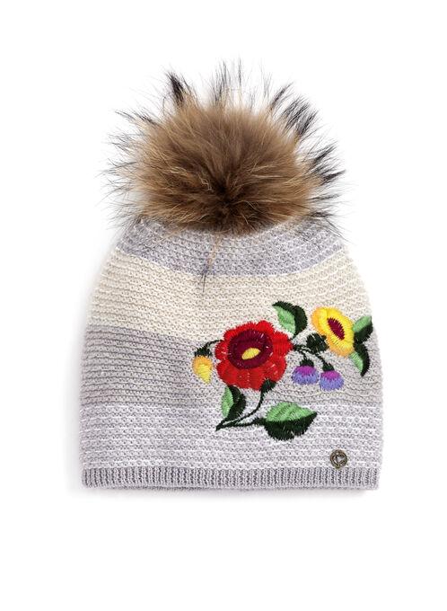 Tuque tricot brodée à fleurs avec pompon de fourrure, Gris, hi-res