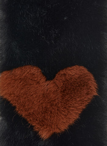Heart Detail Faux Fur Scarf, Black,  fall winter 2020, scarf, faux fur, vegan,