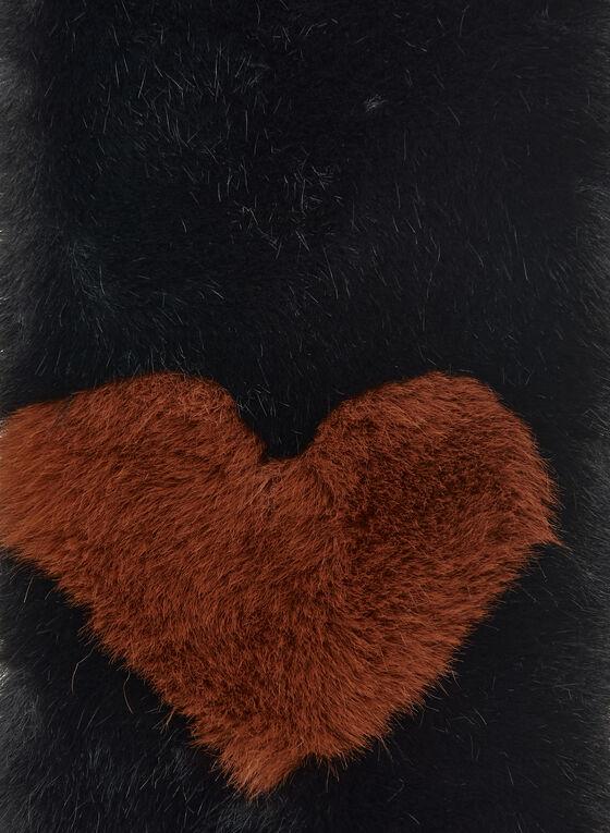 Heart Detail Faux Fur Scarf, Black