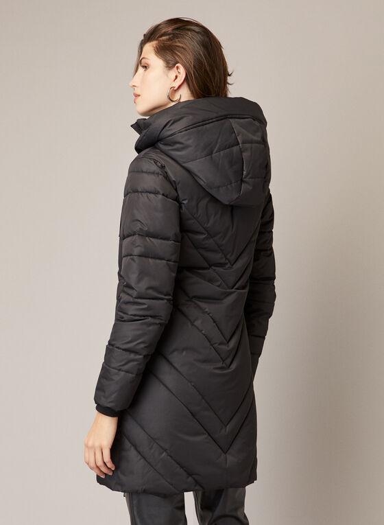 Vegan Down Quilted Coat, Black