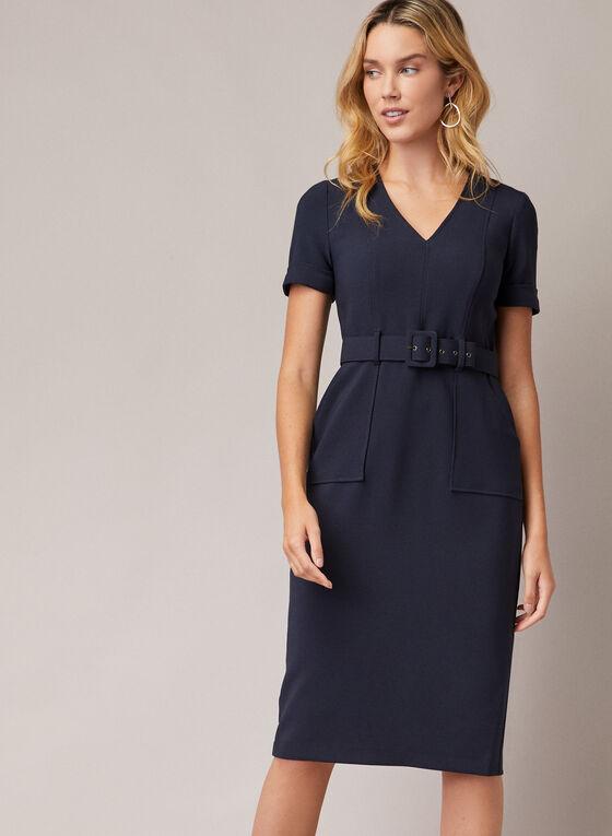 Maggy London - Belted V-Neck Dress, Blue