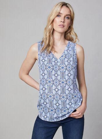 Tile Print Sleeveless Top, Blue, hi-res,  polyester, V-neck, sleeveless, spring 2019, summer 2019